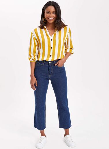 DeFacto Çizgili Relax Fit Gömlek Tunik Sarı